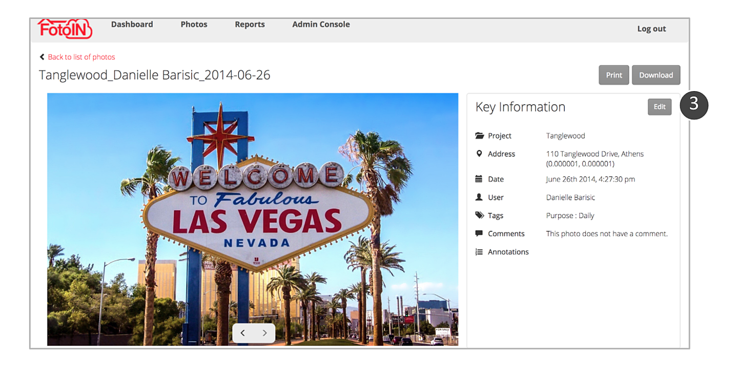 How to edit a photo's project and tags
